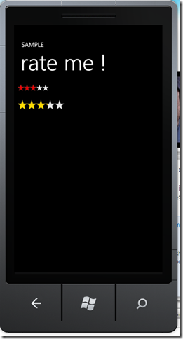 rating control on windows phone